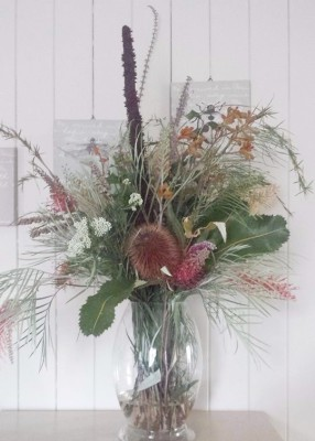Banksia arrangement with grass tree spike